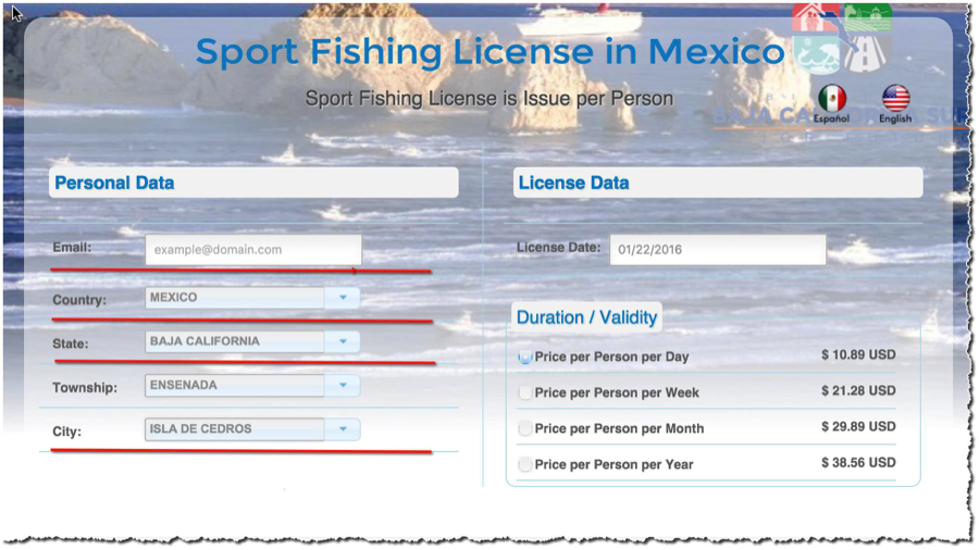 Mexican fishing license cedros outdoor adventures baja for One day fishing license ca